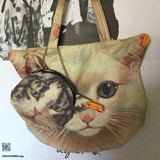 MUCHACHA 2件組附錄 貓咪肩背包+化妝包 日雜