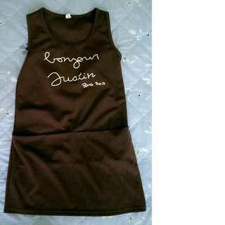 大口袋咖啡色連身裙 洋裝