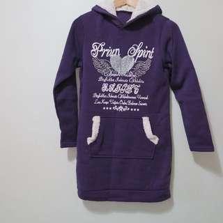 紫色連帽長版厚棉上衣