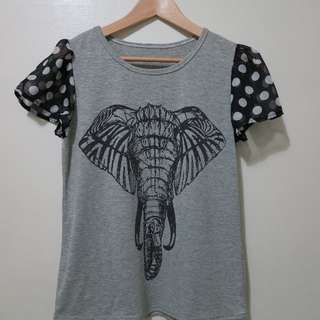 大象圖案 雪紡原點袖 上衣 T