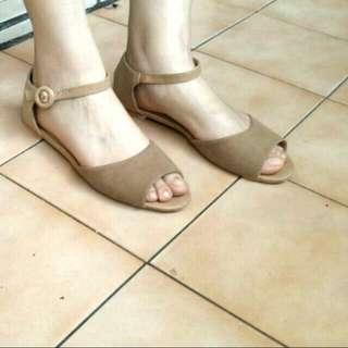 fm shoes 裸色麂皮平底涼鞋