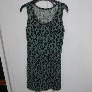 豹紋法藍絨挖背長版背心/洋裝