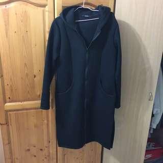 太空衣布料長版拉鍊大衣
