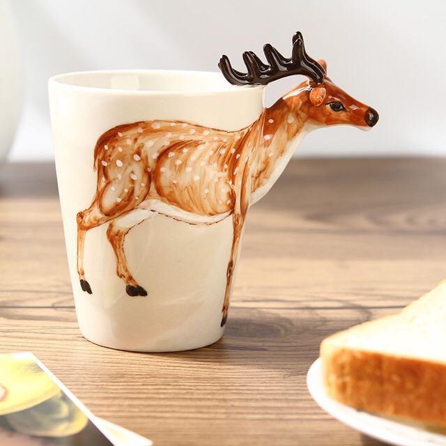 3D立體造型手繪陶瓷杯/立體造型動物杯