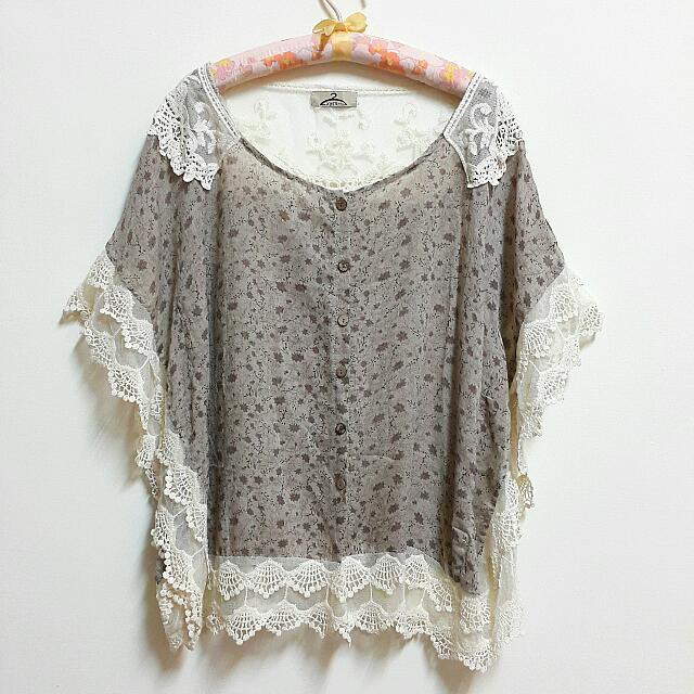 日系蕾絲棉麻罩衫(全新)