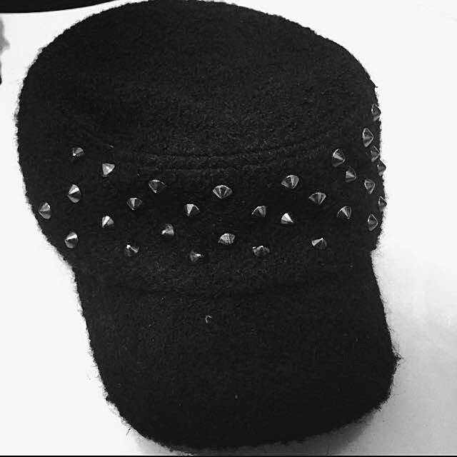 卯釘麂皮軍人帽