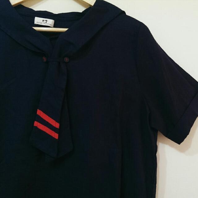 行星海軍風🚢棉麻深藍上衣