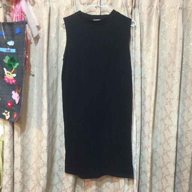 黑色素色長版裙(正韓)