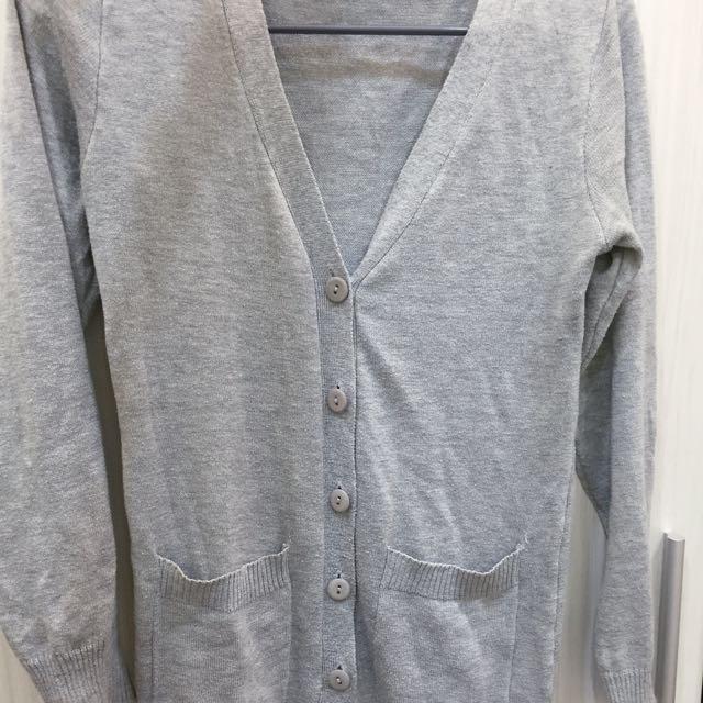長版灰色針織外套 🍀