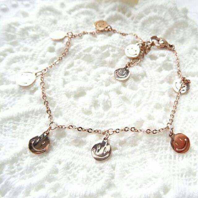 韓國項鍊 鈦鋼玫瑰金 可愛微笑版 腳鍊