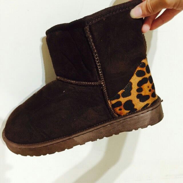 豹紋 拼接 短筒 雪靴