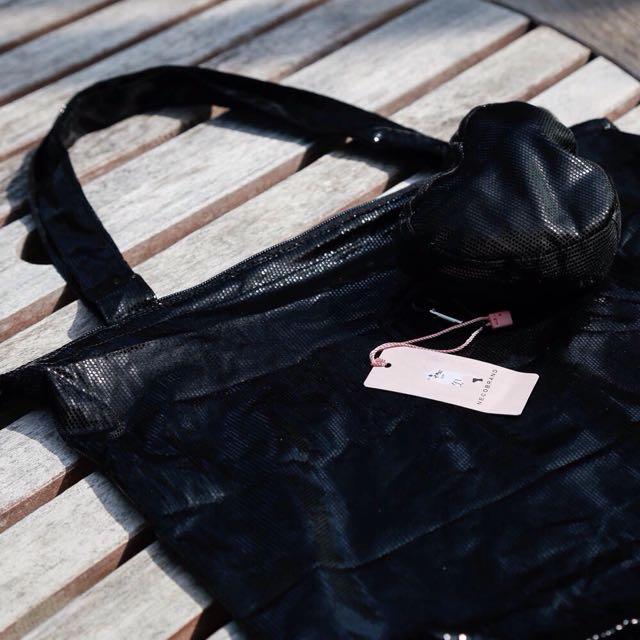 黑色 可收納 購物袋 全新