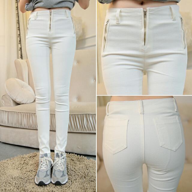 拉鏈 顯瘦 貼身 小腳褲 白褲