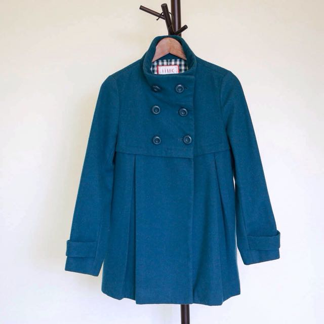 可議 iiMK 羊毛大衣 土耳其藍 雙排釦 二手
