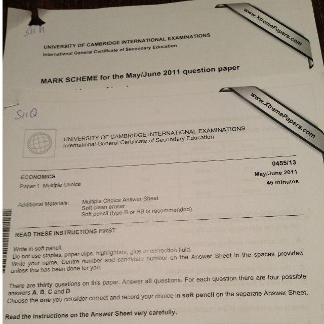 IGCSE economics past papers with mark scheme