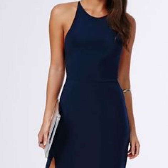 Slinky side split maxi dress navy missguided fashion