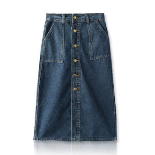 MIUSTAR 單寧前排銅釦口袋長裙