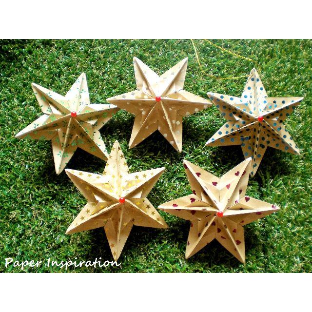 Set Of 5 Handmade Origami Christmas Tree Star Ornaments Nature Theme