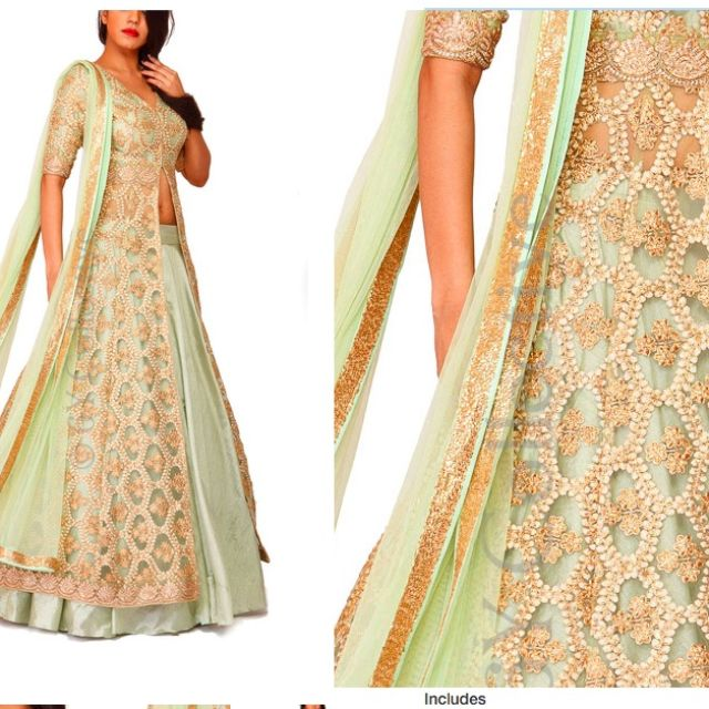 Traditional Indian Gown-Jade Moroccan Kalidar Jacket with Lehenga