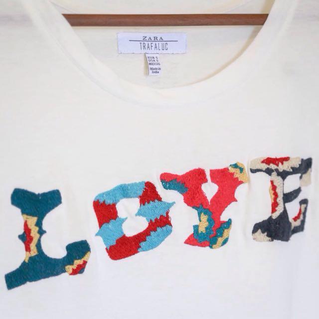 ZARA 字母T恤 白色 九成新