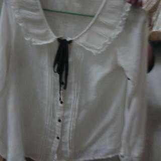 日系米白可愛長袖上衣