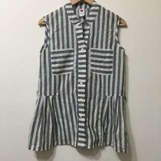【二手】條紋無袖襯衫
