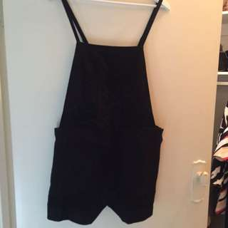Cameo Black Pinafore Dress