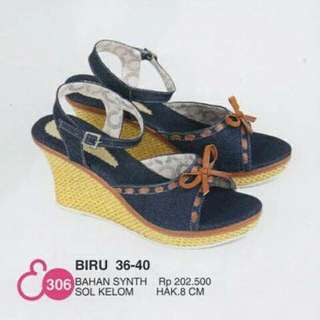 Blue Wedges Shoes