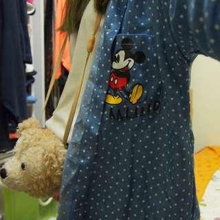 米奇 Micky 點點 長版 襯衫