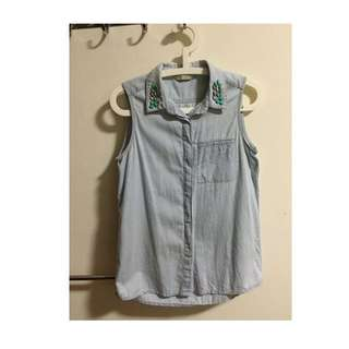 Mango Sleeveless Denim Top