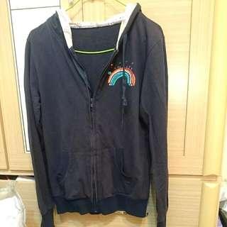 彩虹圖案 藏青色薄外套