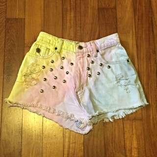 Ombre Pastel Denim Highwaist Shorts