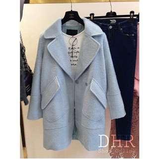 大翻領天藍色長版西裝外套