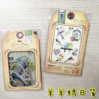 日本進口  Q-Lia Poste Lippee 透明描圖紙 貼紙包 32枚入 鳥兒們【羊羊媽日貨♥】