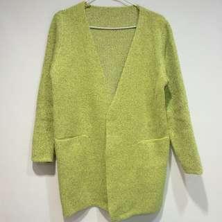 螢光黃 混羊毛 長版 開襟外套