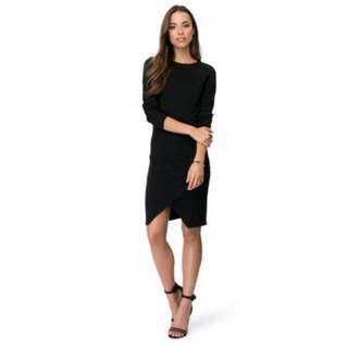 Black Long Sleeve Dress - Stretch Cotton