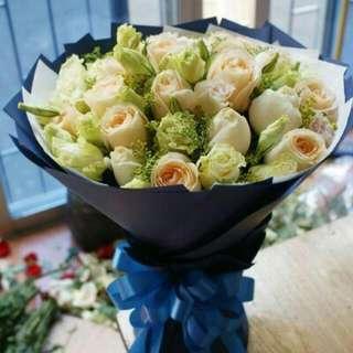 12 Stalks Champagne Rose Bouquet