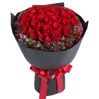 30 Stalks Red Roses Bouquet