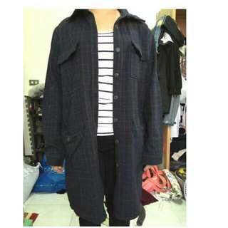 格紋 深藍 襯衫  厚外套