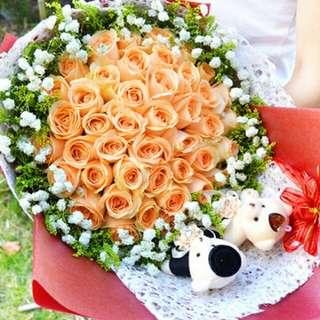35 Stalks Orange Rose Bouquet