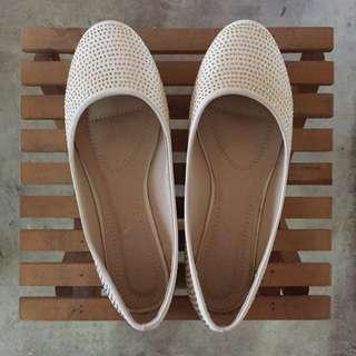 White Embellished Flats Size 39