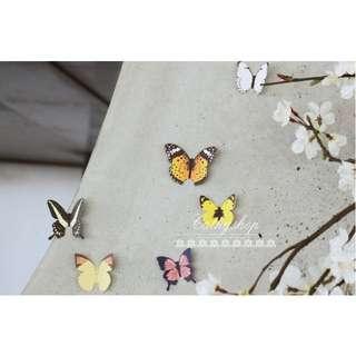 蝴蝶紙質貼紙組 多用途牆面裝飾貼 牆貼 壁貼 家飾 飾品 佈置 15枚入#X028