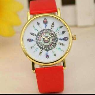 Bn Red Feather Design Watch