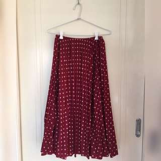 DANGERFIELD Dark Red Polka Dot Skirt
