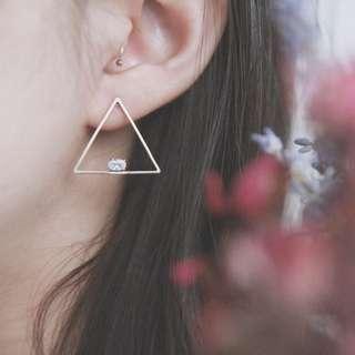 走鋼索的女人/鋯石、金工設計黃銅耳環/目前手工庫存:1