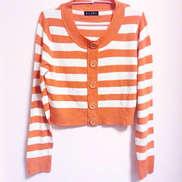 美式橘白條紋針織衣