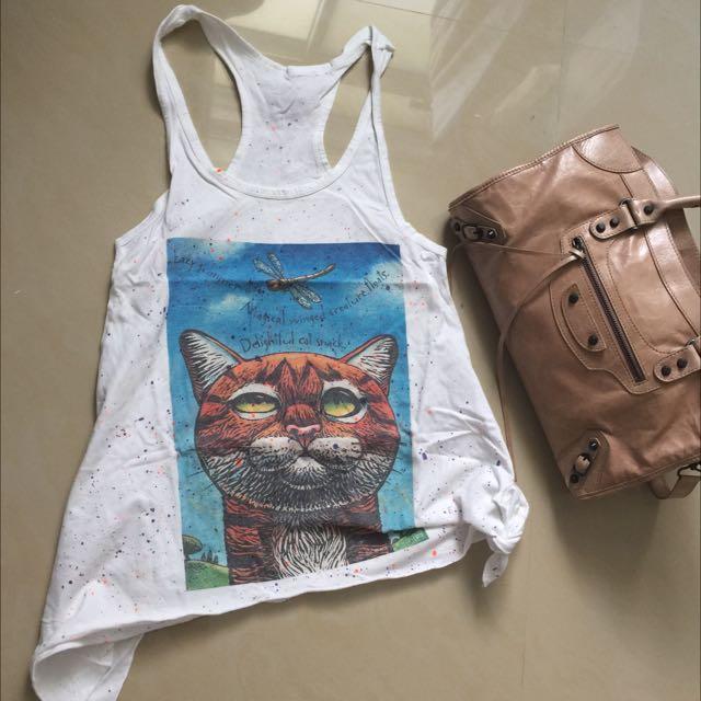 貓咪長版挖背背心