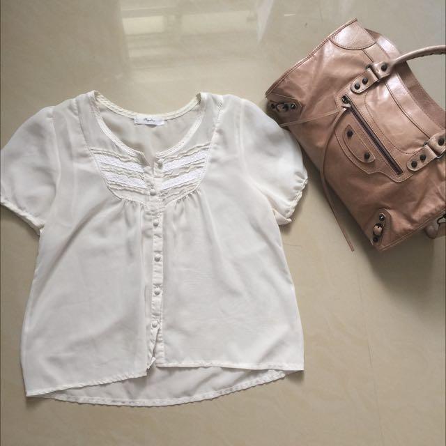 蕾絲雪紡襯衫