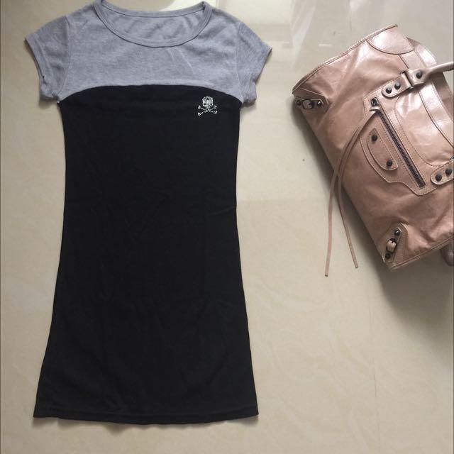 灰黑拼接長版連身裙