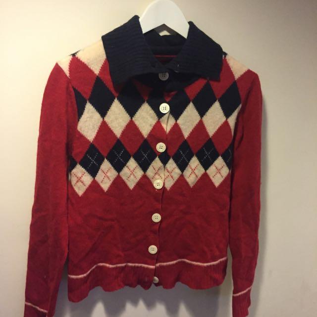 紅色格紋針織外套